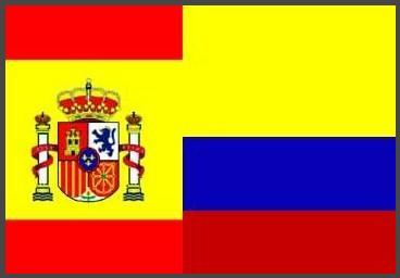 Banderas de España y Colombia